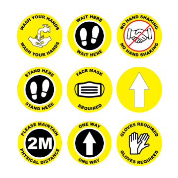 Yellow Social Distancing Floor Marking Anti slip Laminated Stickers - 150/300mm - Pack of 10